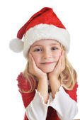 Girl in santa cap — Stock Photo