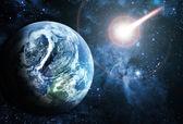 Piękne sunriece na czerwoną planetę w przestrzeni — Zdjęcie stockowe
