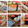 Colage with Japanese sushi — Stock Photo #19162621