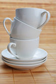 Coffee cups with saucers — Stock Photo