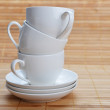 Stock Photo: Coffee cups with saucers