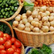 Many different ecological vegetables at market — Stock Photo