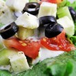 Salat with feta cheese and fresh vegetables — Stock Photo #22617631