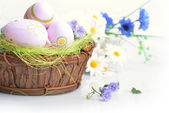 basket of easter eggs  — Stock Photo