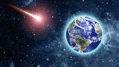 Kometa zbliża się do niebieskiej planety w przestrzeni — Zdjęcie stockowe