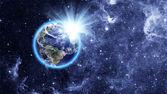 Planeta azul en el hermoso espacio — Foto de Stock