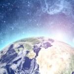 aarde en de maan in de ruimte — Stockfoto