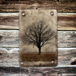 Tree without leaves on grunge paper - Foto Stock