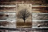 Träd utan löv på grunge paper — Stockfoto