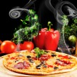 Tasty pizza on  plate — Foto Stock