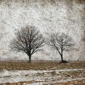 Paesaggio invernale con alberi su carta grunge — Foto Stock