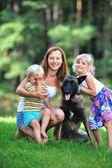 Children with dog — Stock Photo