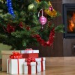 Christmas tree and  gift — Foto Stock
