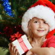 girl  in santa cap — Stockfoto