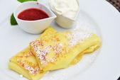 Pancakes on dish — Stock Photo