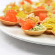 Tartlets with salmon — Stock Photo