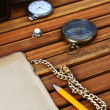 Ancient mariner's compass and watch — Stock Photo