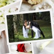 Pile of wedding photos — Stock Photo