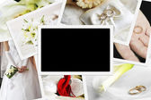 Pile of wedding photos — Stockfoto