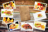 Food photo pile on wooden table — Stock Photo
