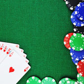 Chips for gamblings and cards — Stock Photo