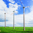 Stock Photo: Wind turbines in the field
