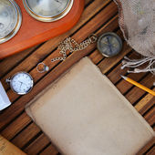 Compass, watch and old paper — Stock Photo