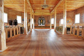 Hall of wooden church — Stock Photo
