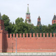 Moscow Kremlin red brick wall and Towers — Stock Photo
