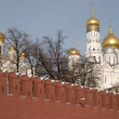 Stock Photo: Moscow Kremlin wall and Cathedrals cupolas