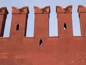 Part of red brick Kremlin wall — Stock Photo
