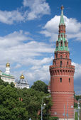 Moscow Kremlin tower and churches at summer day vertical view — Stock Photo