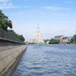 Moskva river and embankmentin at summer day - Stock Photo