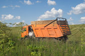 Paisaje de verano rural con auto agrícola frente a campo cultivado — Foto de Stock