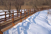 Winter landscape with long wooden pedestrian bridge — Stock Photo
