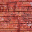 Red brick wall front view closeup — Foto Stock