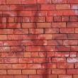 Red brick wall front view closeup — 图库照片