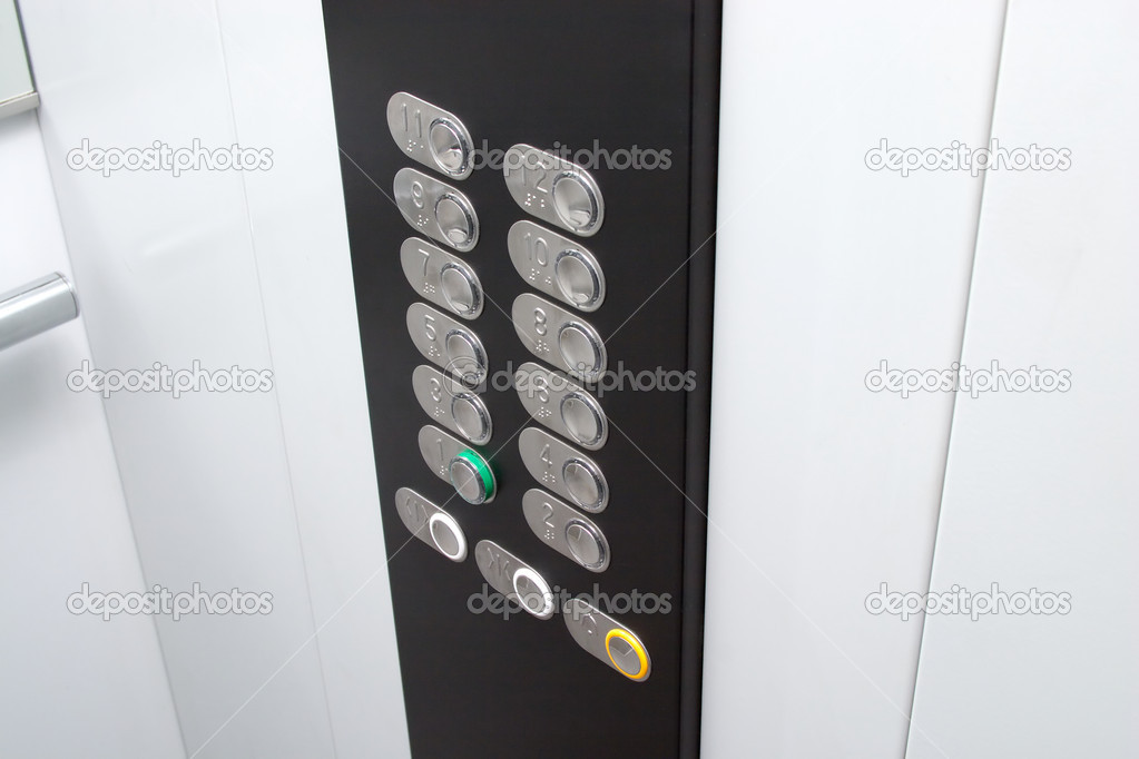 Elevator black control panel with silver metal buttons — Stock Photo #14091865