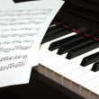 Foto Stock: Piano keyboard and notes