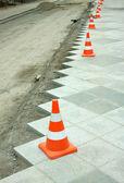 Construction of city pedestrian area — Stock Photo