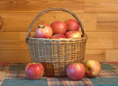 Many apples in basket closeup — Stock Photo