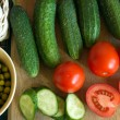 Vegetables on kitchen table — Foto Stock