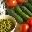 Vegetables on kitchen table — Stockfoto