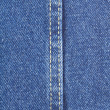Texture of blue jeans fabric with stitch — Stockfoto