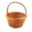 Empty brown wicker basket isolated on white — Foto de Stock