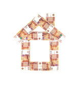 House from Russian five thousand rubles banknotes isolated — Stock Photo