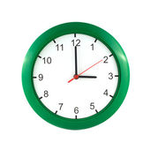 Three o'clock  on green wall clock — Stock Photo