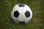 White and black ball for playing soccer in high green grass closeup — Zdjęcie stockowe