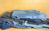 Jeans on sale. Front view close-up — Stock Photo