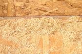 Segatura e trucioli sul nuovo piano costruito closeup — Foto Stock